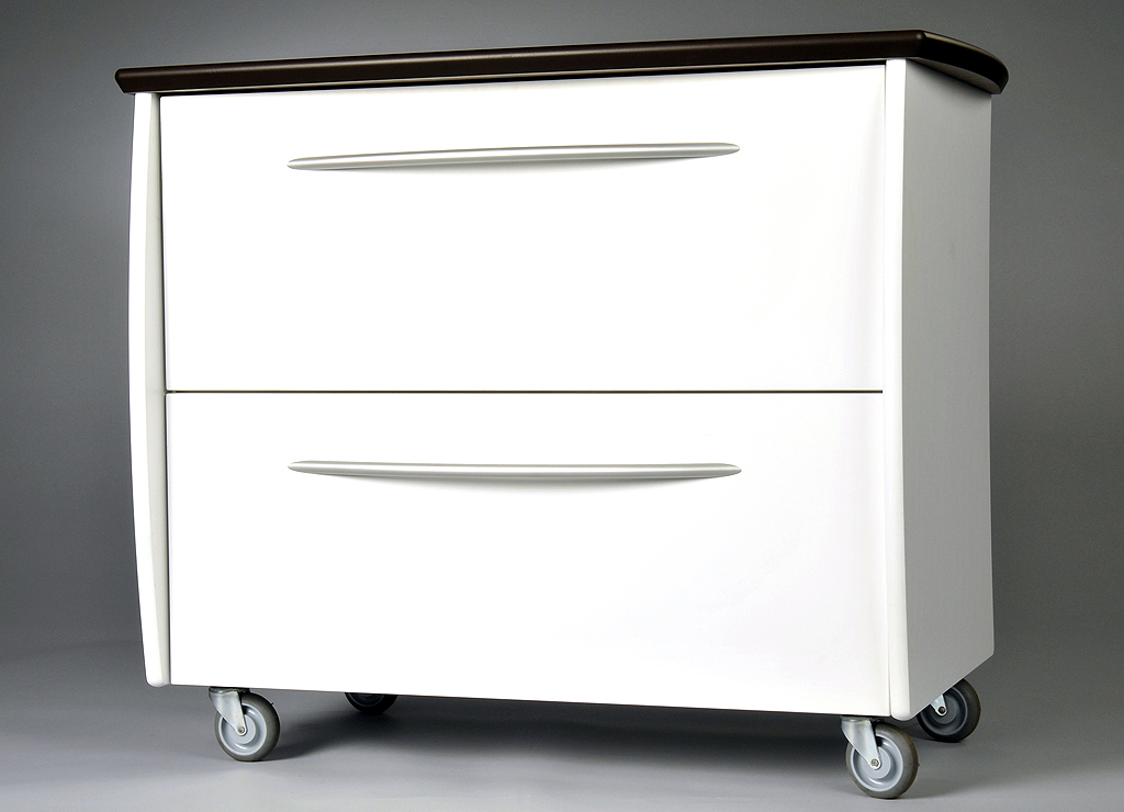 Lateral File, 2 Drawer, White With Chocolate Brown Top